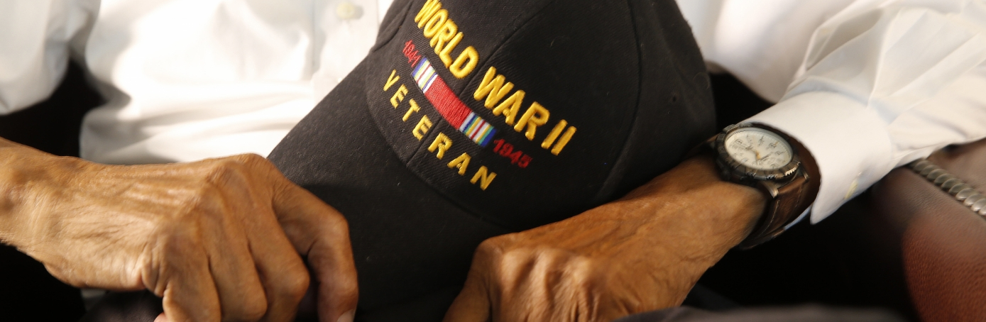 World War II veteran Leonard Larkins holding his World War II hat at his home in New Orleans. Larkins and nearly 4,000 other segregated black soldiers helped build a highway across Alaska and Canada during World War II, a contribution largely ignored for decades but drawing attention as the 75th anniversary approaches. (Credit: AP/REX/Shutterstock)