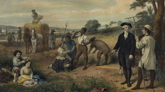 George Washington standing among slaves harvesting grain. (Credit: The Library of Congress)