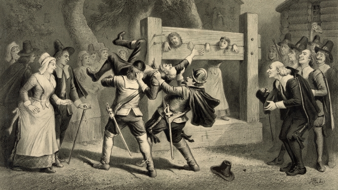 Depiction of the Salem Witch trials by Joseph E. Baker, published 1892. (Credit: H.S. Photos/Alamy Stock Photo)