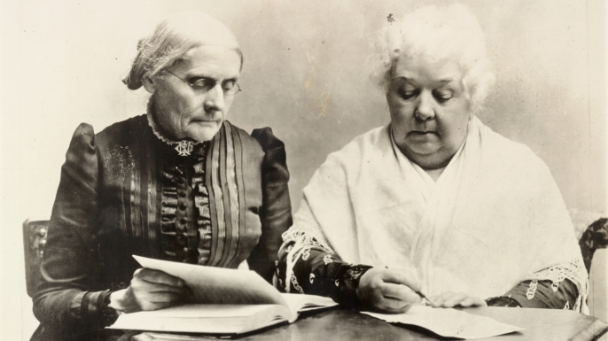Susan B. Anthony and Elizabeth Cady Stanton, pioneers of the Women's Rights Movement, 1891. (Credit: The Library of Congress)