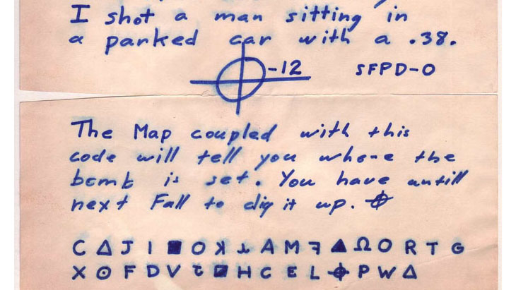 This cipher, mailed to the Chronicle, was sent along with a map of the San Francisco Bay area. The code, Zodiac wrote, would identify where he had set a bomb.  (Image courtesy of writer; public domain)