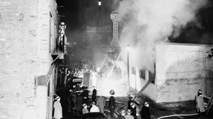 Smoke pours from the Cocoanut Grove night club during the fire of Nov. 28, 1942 in the Back Bay section of Boston. (Credit: AP Photo)