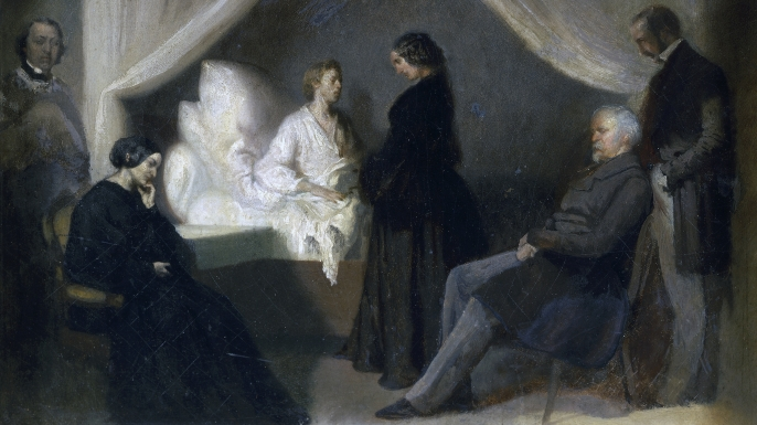Polish composer Frederic Chopin's final moments before death. (Credit: DeAgostini/Getty Images)