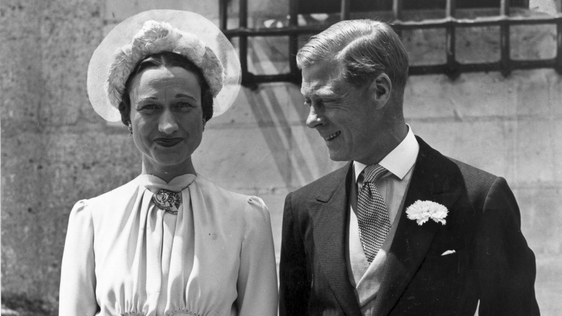 The Duke of Windsor with Wallis Simpson at the Chateau de Conde, France, on their wedding day. (Credit: Hulton Archive/Getty Images)