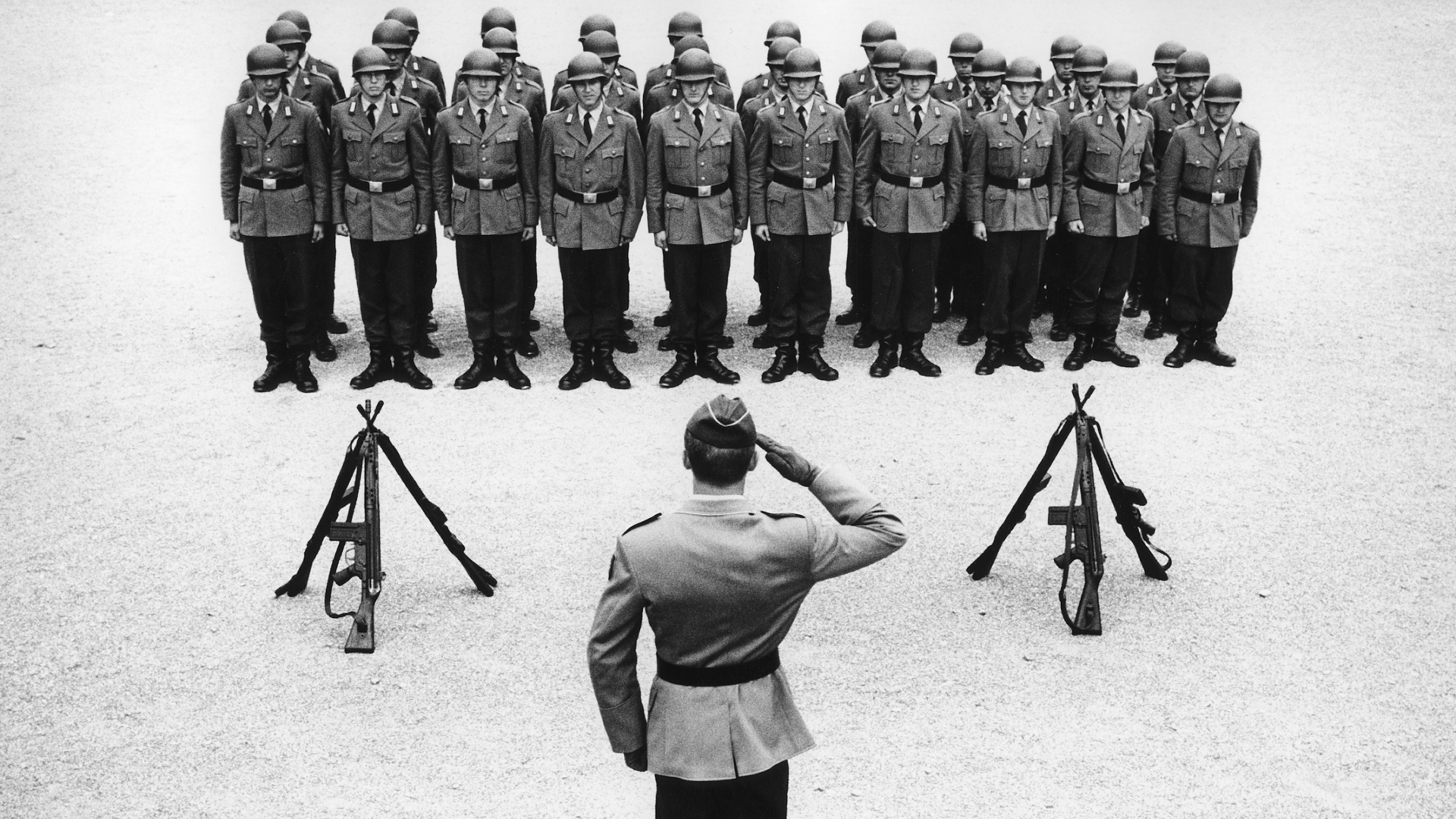 Bundeswehr soldiers assemble for roll call, 1966. (Credit: Rudolf Dietrich/ullstein bild via Getty Images)