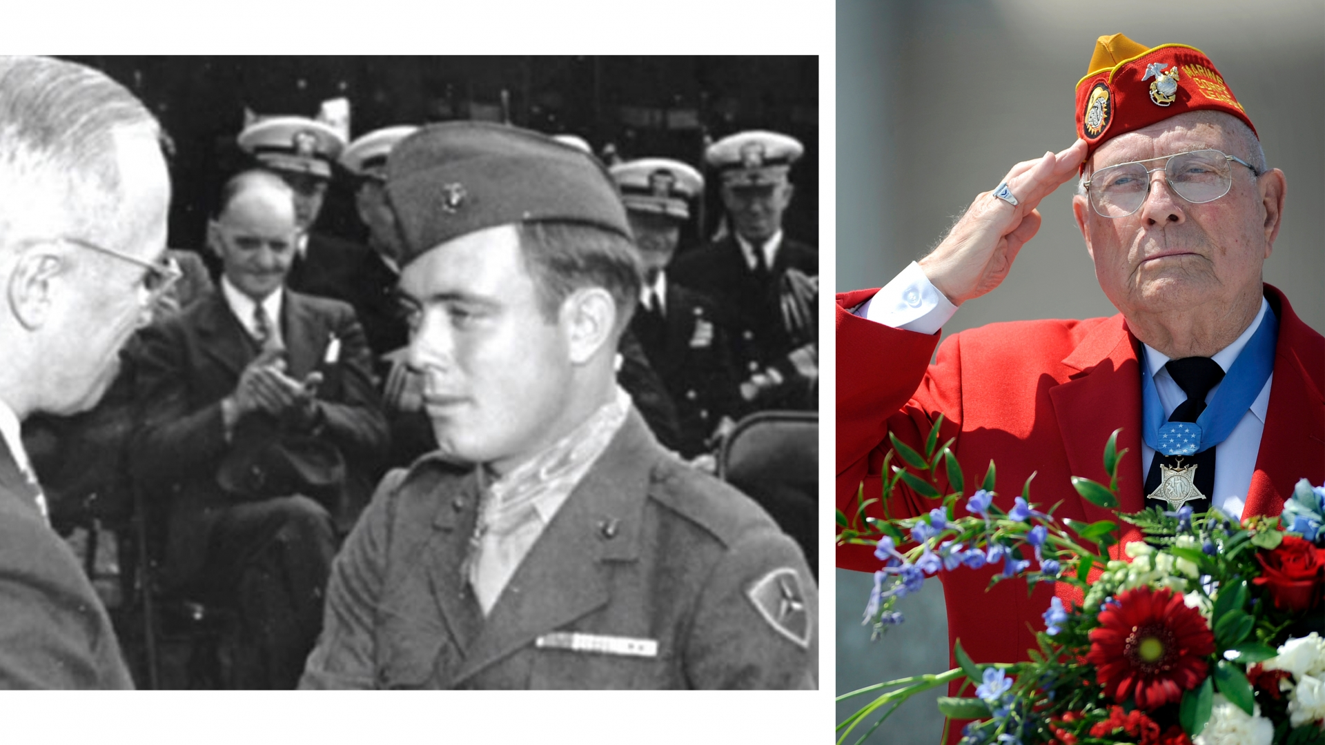 "On the left is President Harry Truman congratulating Hershel ""Woody"" Williams on being awarded the Medal of Honor for his actions during the battle of Iwo Jima, 1945. (Image courtesy of the U.S. Marine Corps.) The right shows Williams saluting during the D-Day ceremony at the National D-Day Memorial in Bedford, Virginia, 2011. (Credit: Parker Michels-Boyce, The News & Advance/AP Photo)"