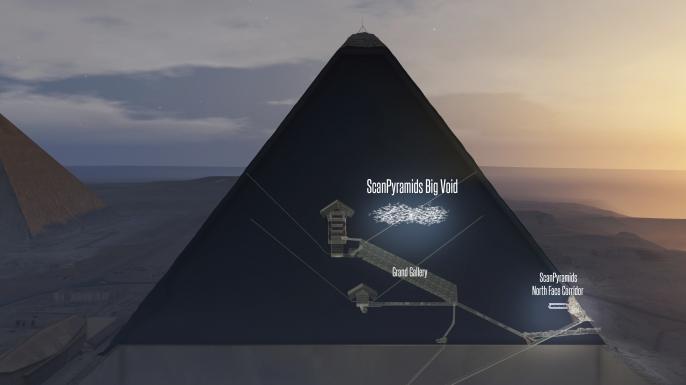 A computer generated image that shows a section through the Pyramid of Cheops near Giza, Egypt, showing a possible cavity in the middle and the Great Gallery below. Another orientation of the cavity along the gallery is possible. (Credit: PyramidScan/Picture-Alliance/DPA/AP Images)
