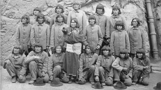 Hopi men from Oraibi, Arizona sent to Alcatraz, 1895. Photograph by Isaiah W. Taber. (Credit: Mennonite Library and Archives/Bethel College, North Newton, KS)