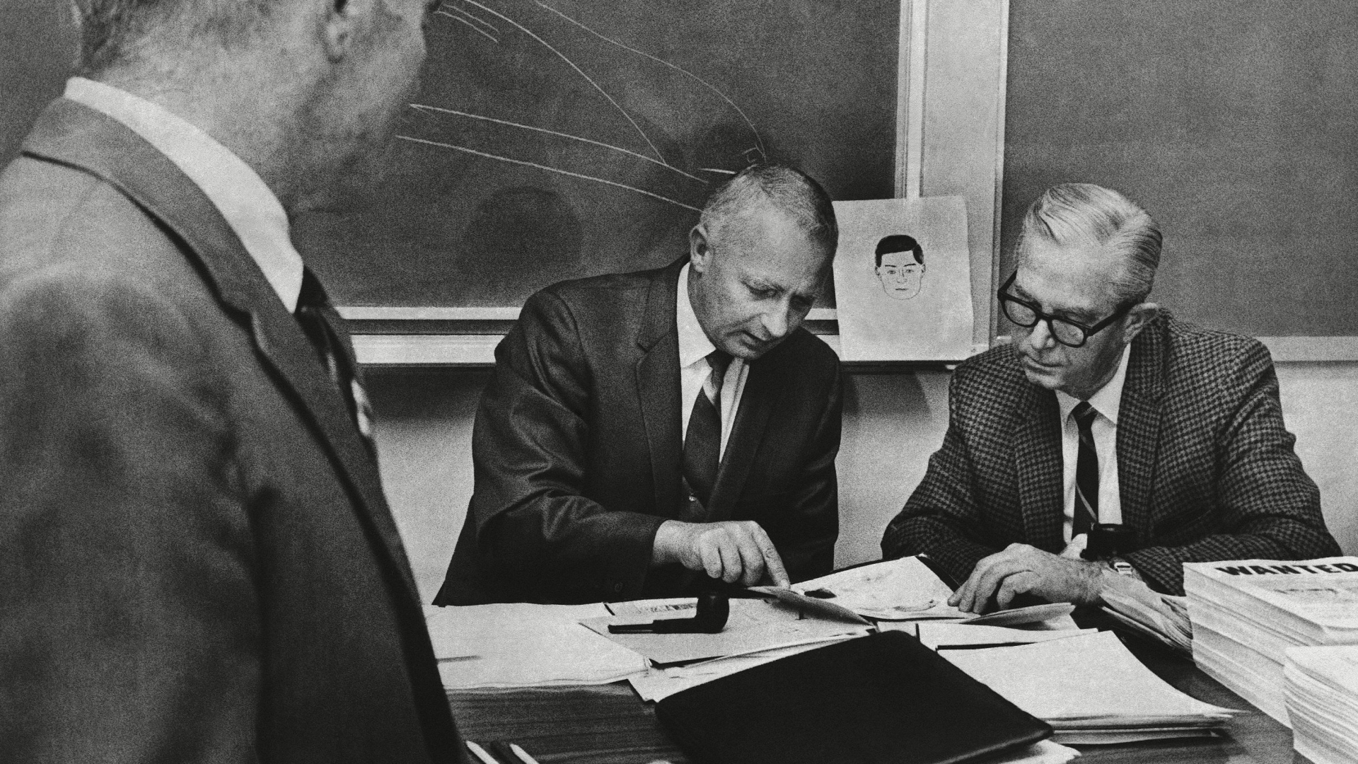 October 20, 1969: At the height of Zodiac's serial-killing spree, Martin Lee, Hal Snook and William Hallett, law-enforcement officers from two Bay Area counties and San Francisco, met to compare notes toward catching the murderer before he struck again. (Credit: SJV/AP/REX/Shutterstock)