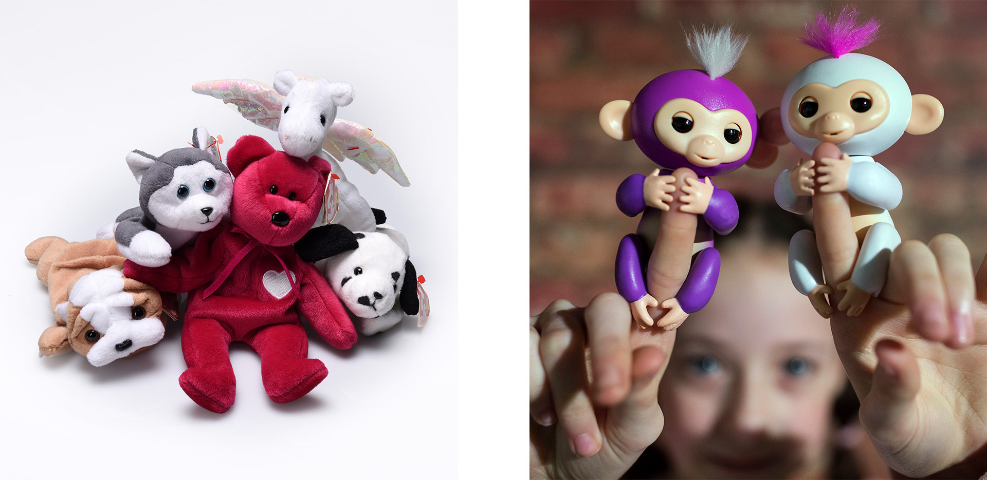 Beanie Babies (Credit: Bill O'Leary/The Washington Post via Getty Images) and WowWee's Fingerlings (Credit: Dan Kitwood/Getty Images)