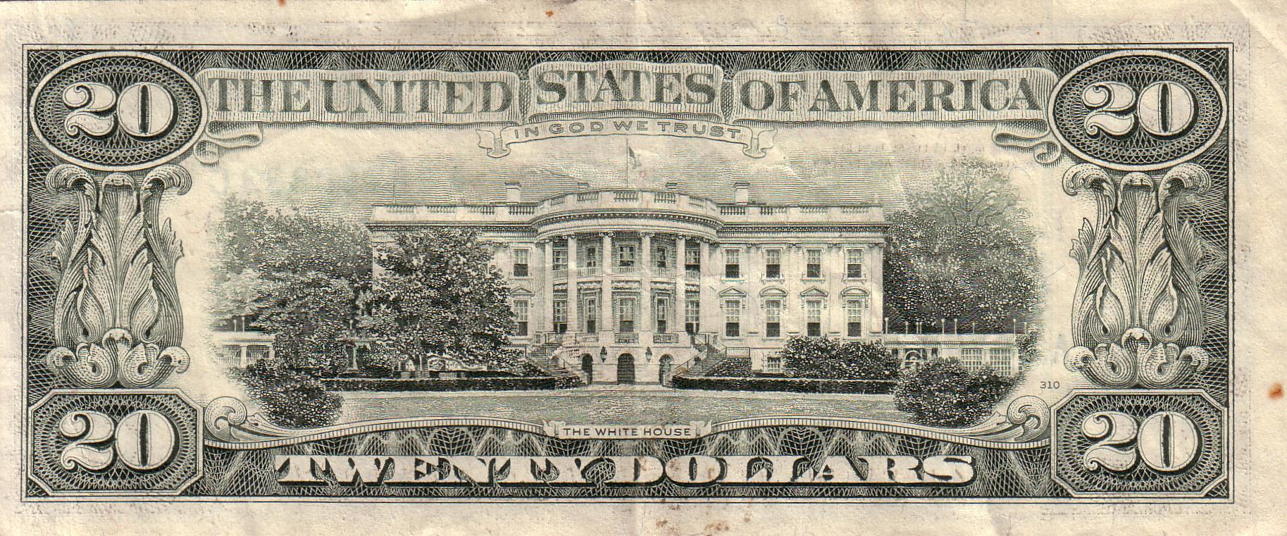 1990 series of the $20 bill, featuring the Magnolia tree. (Credit: Public Domain)