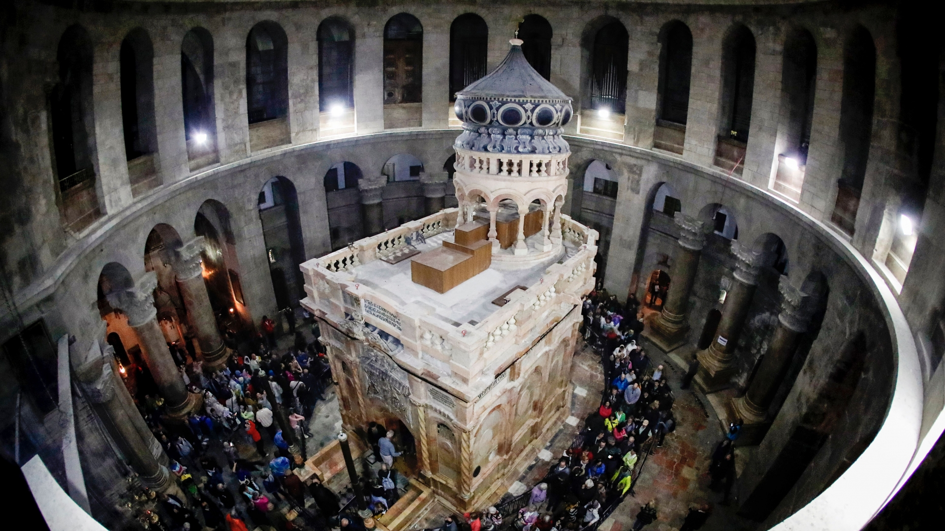The renovated Edicule of the Tomb of Jesus (where his body is believed to have been laid)  at the Church of the Holy Sepulchre in the Old City of Jerusalem. (Credit: Thomas Coex/AFP/Getty Images)