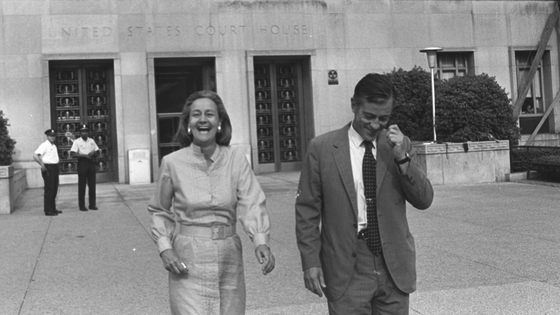 Washington Post Publisher Katharine Graham and Execuctive Editor Ben Bradlee leave U.S. District Court in Washington June 21, 1971, after Judge Gerhard A. Gesell's rules the the paper could publish further articles about the Pentagon Papers. (Credit: STF/BD/AP Photo)