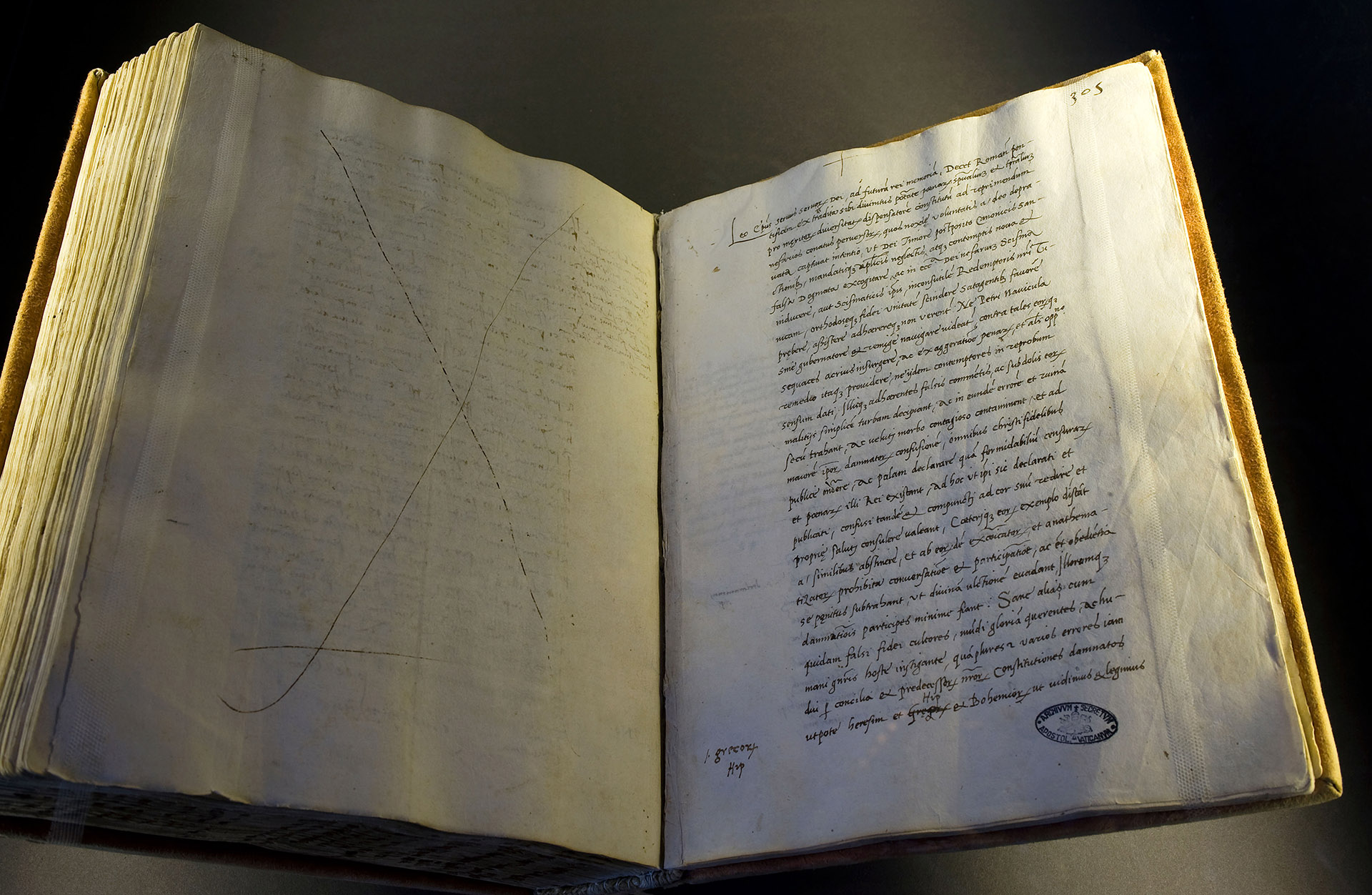 The document of excommunication of Martin Luther in an exhibition of the Vatican Secret Archives. (Credit: Elio Lombardo/Alamy Stock Photo)