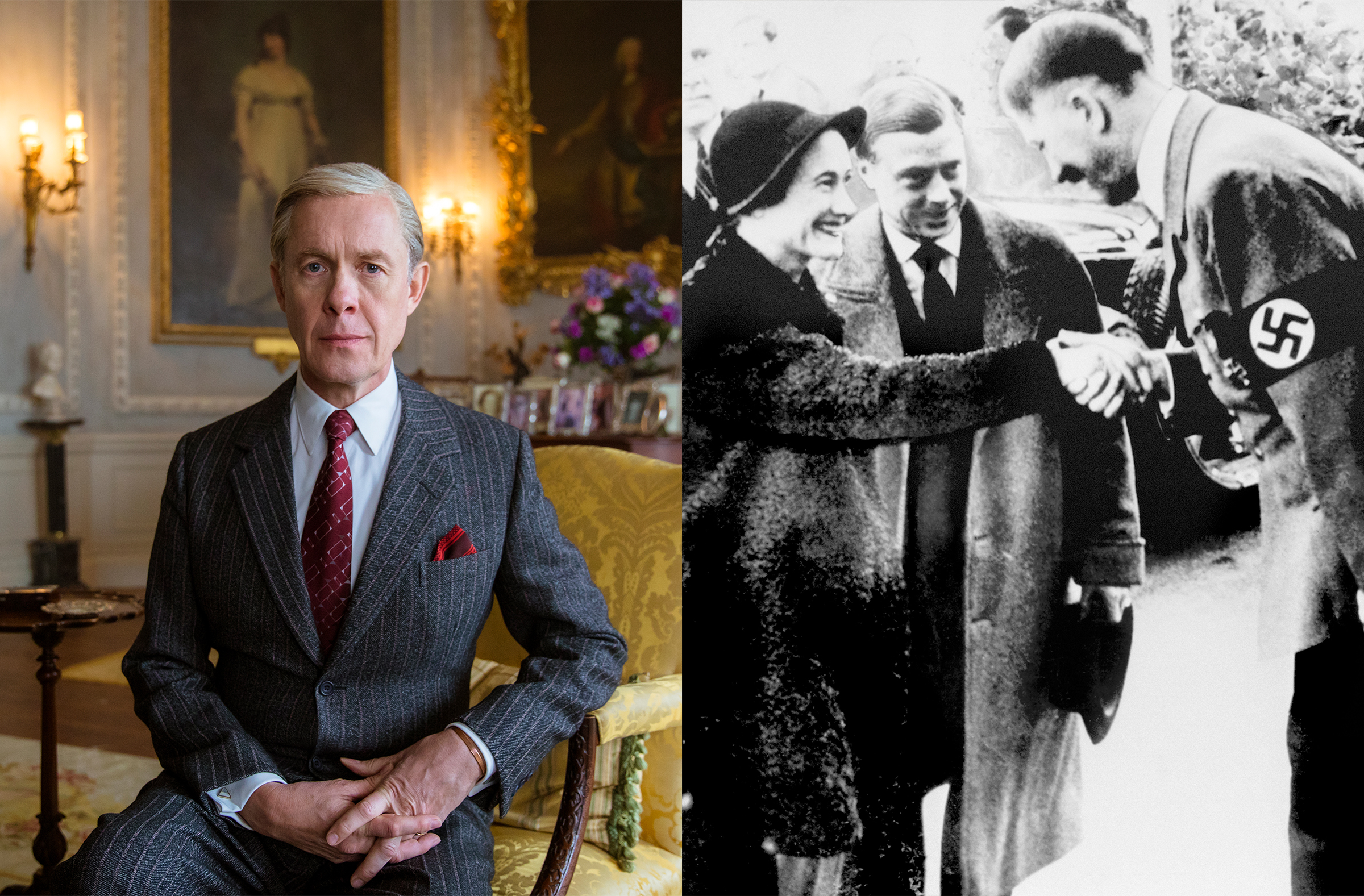 On the left, Edward, Duke of Windsor (formerly King Edward VIII) from Netflix's The Crown, depicted by Alex Jennings. On the right, the real Edward with his wife Wallis Simpson meeting with Adolf Hitler in Munich, 1937 (Credit: Robert Viglasky/Netflix & PA Wire/AP Photo).