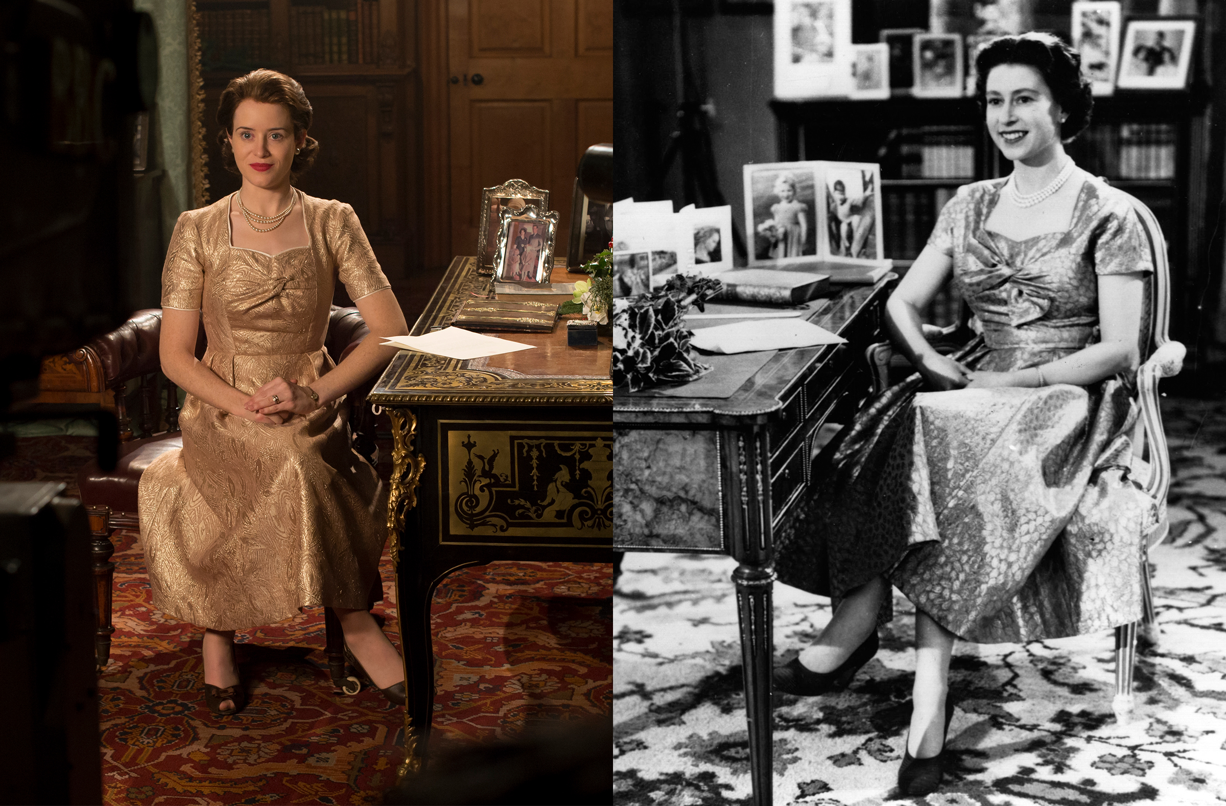 Queen Elizabeth II delivering her first-ever televised Christmas address in 1957. On the left, depicted by Claire Foy in Netflix's The Crown. (Credit: Alex Bailey/Netflix & Keystone/Getty Images )