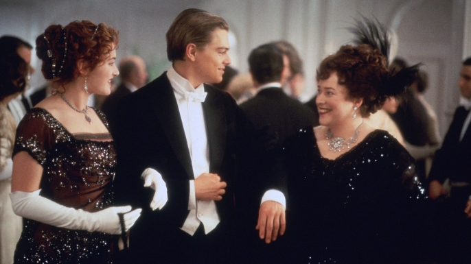 Kate Winslet, Leonardo DiCaprio and Kathy Bates in 'Titanic' directed by James Cameron. (Credit: Twentieth Century Fox Pictures/ScreenProd/Photononstop/Alamy Stock Photo)