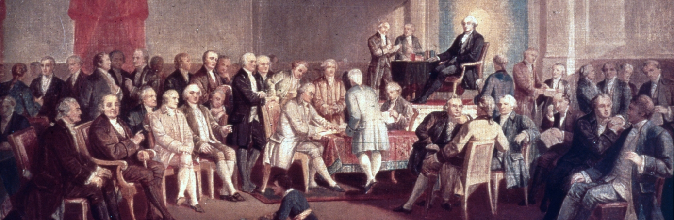 1787: The painting Signing the Constitution of the United States by Thomas Pritchard Rossiter. The painting, painted in 1878, resides at Independence National Historical Park, Philadelphia, Pennsylvania.  (Photo by MPI/Getty Images)