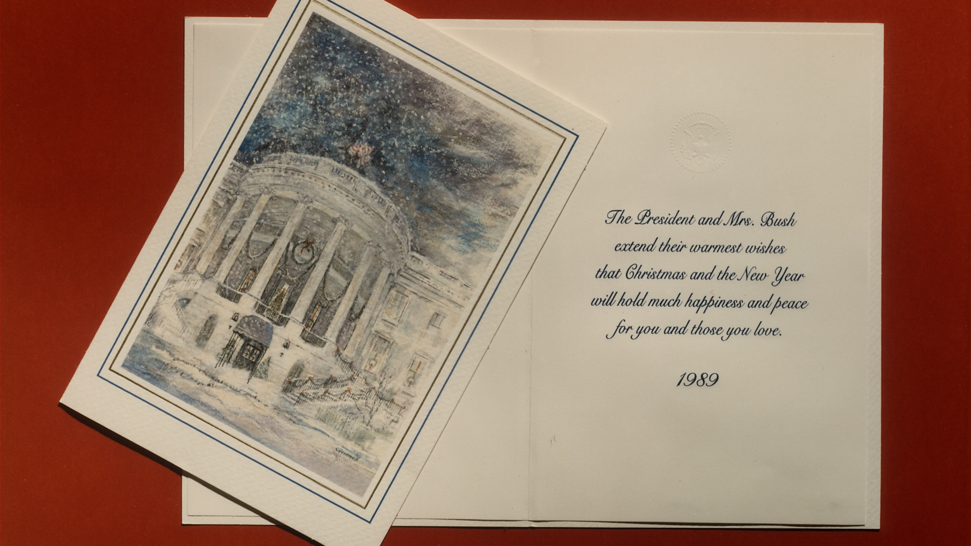 White House Christmas card from George H. W. Bush, 1989.  (Credit: White House/White House/The LIFE Images Collection/Getty Images)