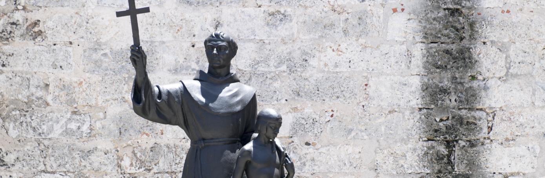 Junipero Serra religious statue in Assisi Square in Cuba. (Credit: Roberto Machado Noa/LightRocket via Getty Images)