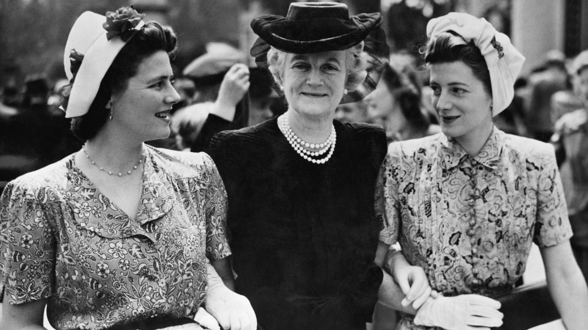 Mrs. Winston Churchill, with her daughters Mary and Sarah, after her investiture by the Queen at Buckingham Palace, where she became a Dame of the British Empire, 1946. (Credit: Hulton-Deutsch Collection/CORBIS/Corbis via Getty Images)