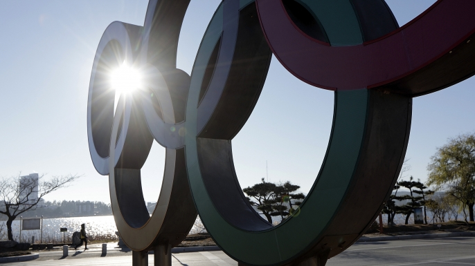 GANGNEUNG, SOUTH KOREA - DECEMBER 16:  The Olympic Rings stands at the center of a traffic circle on December 16, 2016 in Gangneung, South Korea.  (Credit: Woohae Cho/Getty Images)