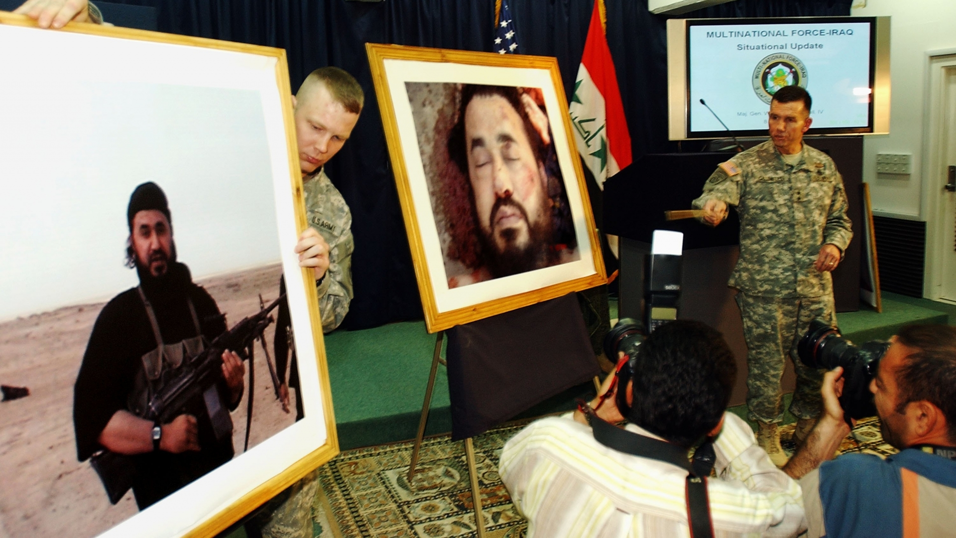 A press conference announcing the death of Abu Musab al-Zarqawi, the leader of al-Qaeda in Iraq. Former CIA tracker Nada Bakos was an instrumental member of the team that found the notorious terrorist. (Credit: Wathiq Khuzaie/Getty Images).