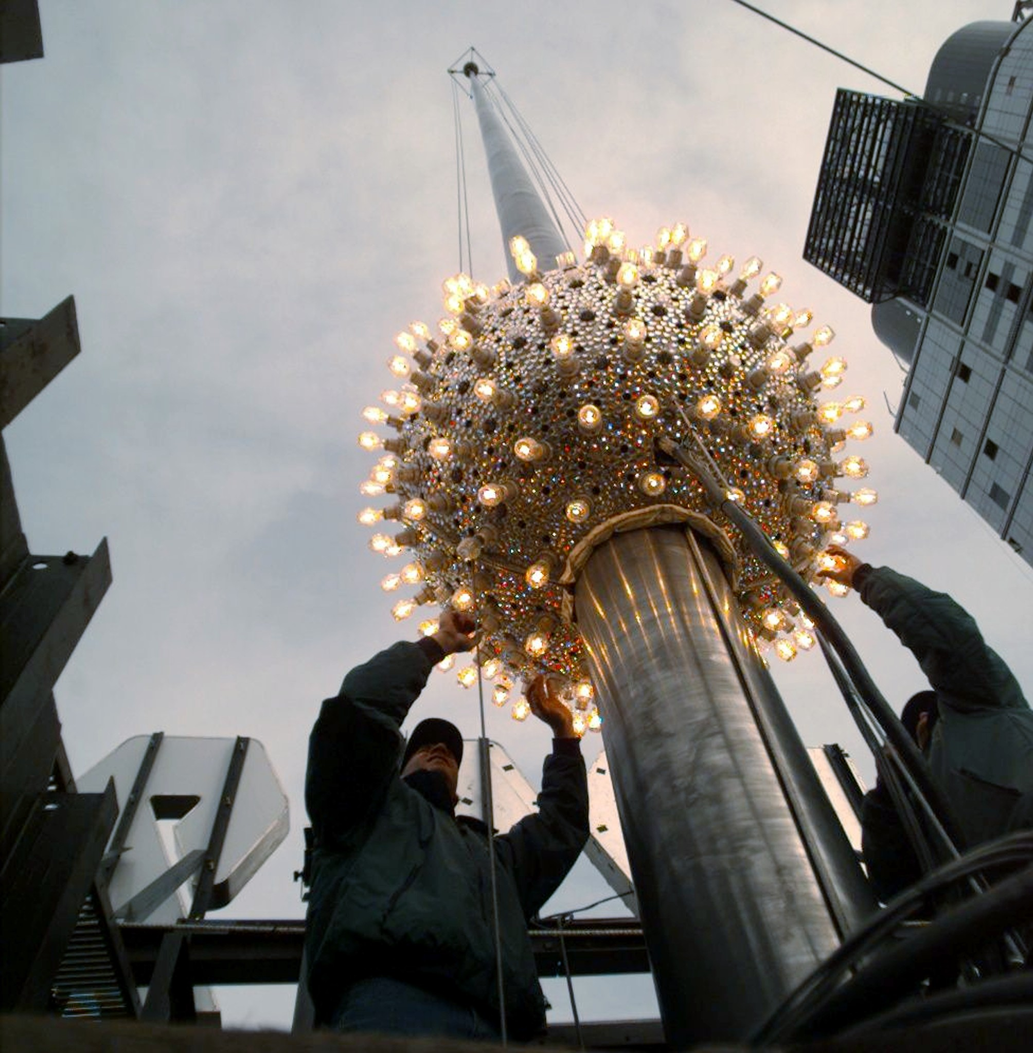 Crystal triangles installed on this year's Times Square New Year's Eve ball