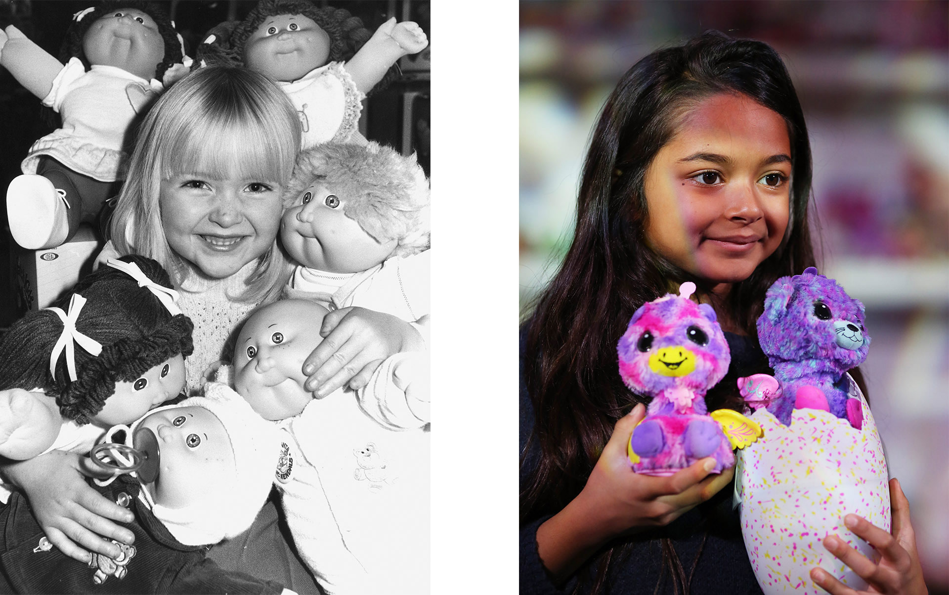 Cabbage Patch Kids (Credit: SSPL/Getty Images) and Hatchimals (Credit: Dan Kitwood/Getty Images)