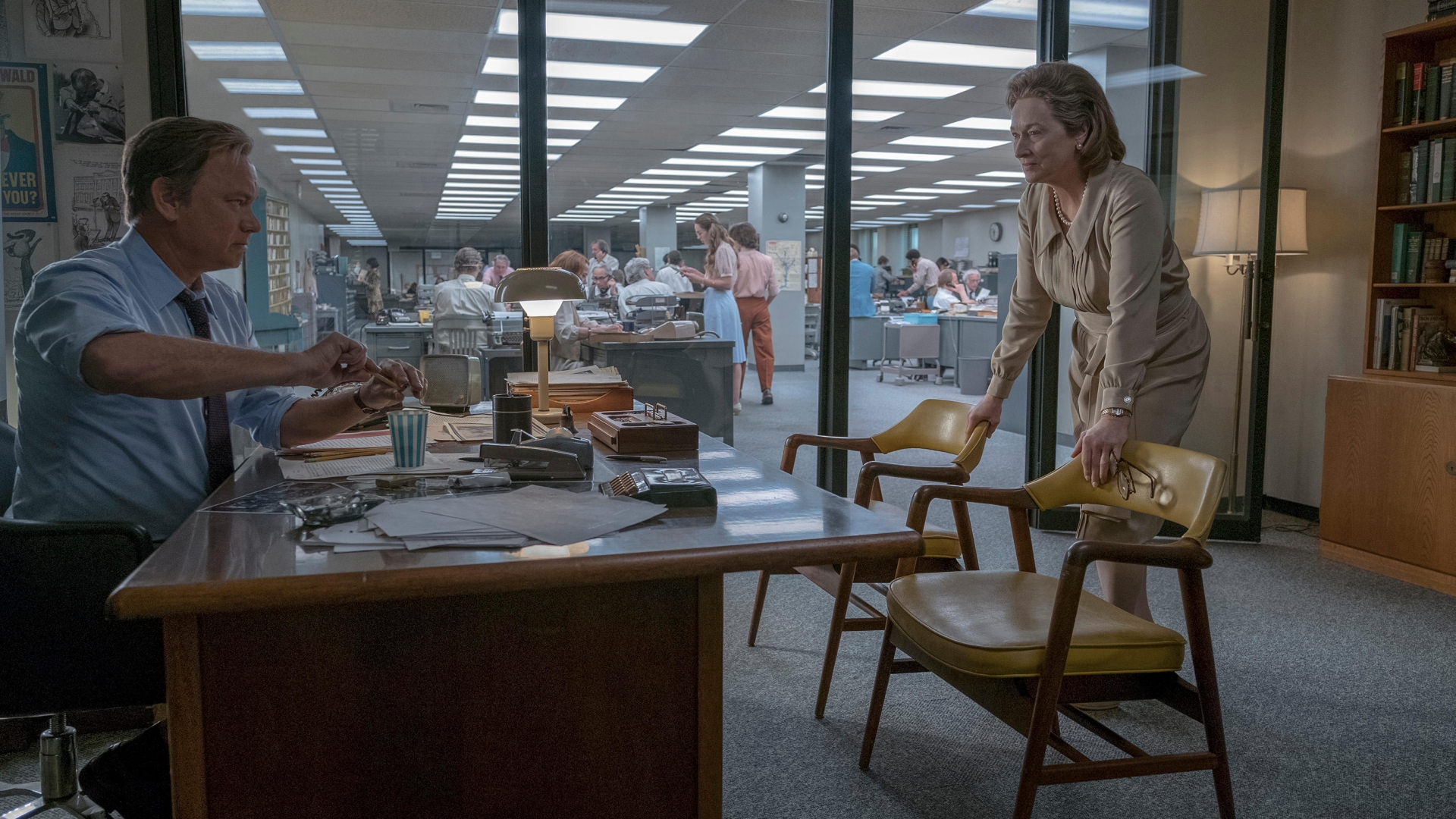 Tom Hanks as Ben Bradlee and Merryl Streep as Katherine Graham in The Post. (Credit: Twentieth Century Fox/Entertainment Pictures/Alamy Stock Photo)