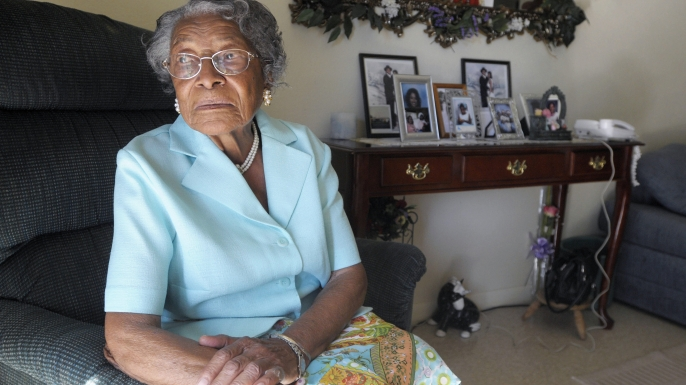 FILE - In this Oct. 7, 2010 file photo, Recy Taylor is seen her home in Winter Haven, Fla. The Alabama Legislature has officially apologized to an Taylor, who was raped nearly seven decades ago by a gang of white men as she walked home from church. (AP Photo/Phelan M. Ebenhack, File)