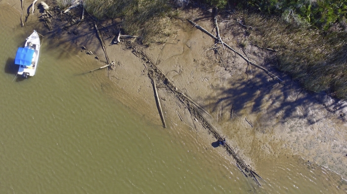 This aerial photo taken on January 2, 2018, in Mobile County, Alabama, shows the remains found by a reporter from Al.com that could be the Clotilda,  the last slave ship documented to have delivered captive Africans to the United States. (Credit: Ben Raines/Al.com via AP)