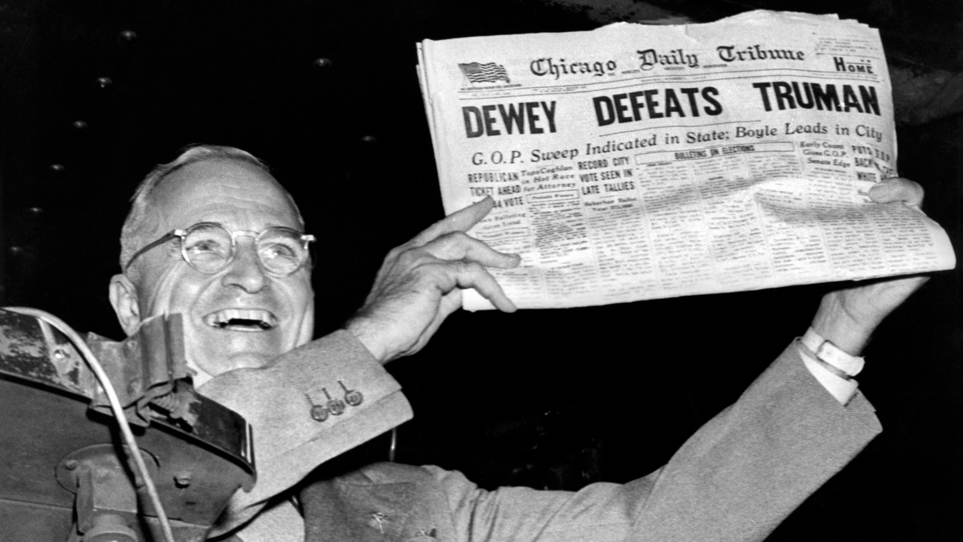 President Harry Truman holding up a copy of the Chicago Daily Tribune incorrectly declaring his defeat to Thomas Dewey in the presidential election in 1948. (Credit: Underwood Archives/Getty Images)