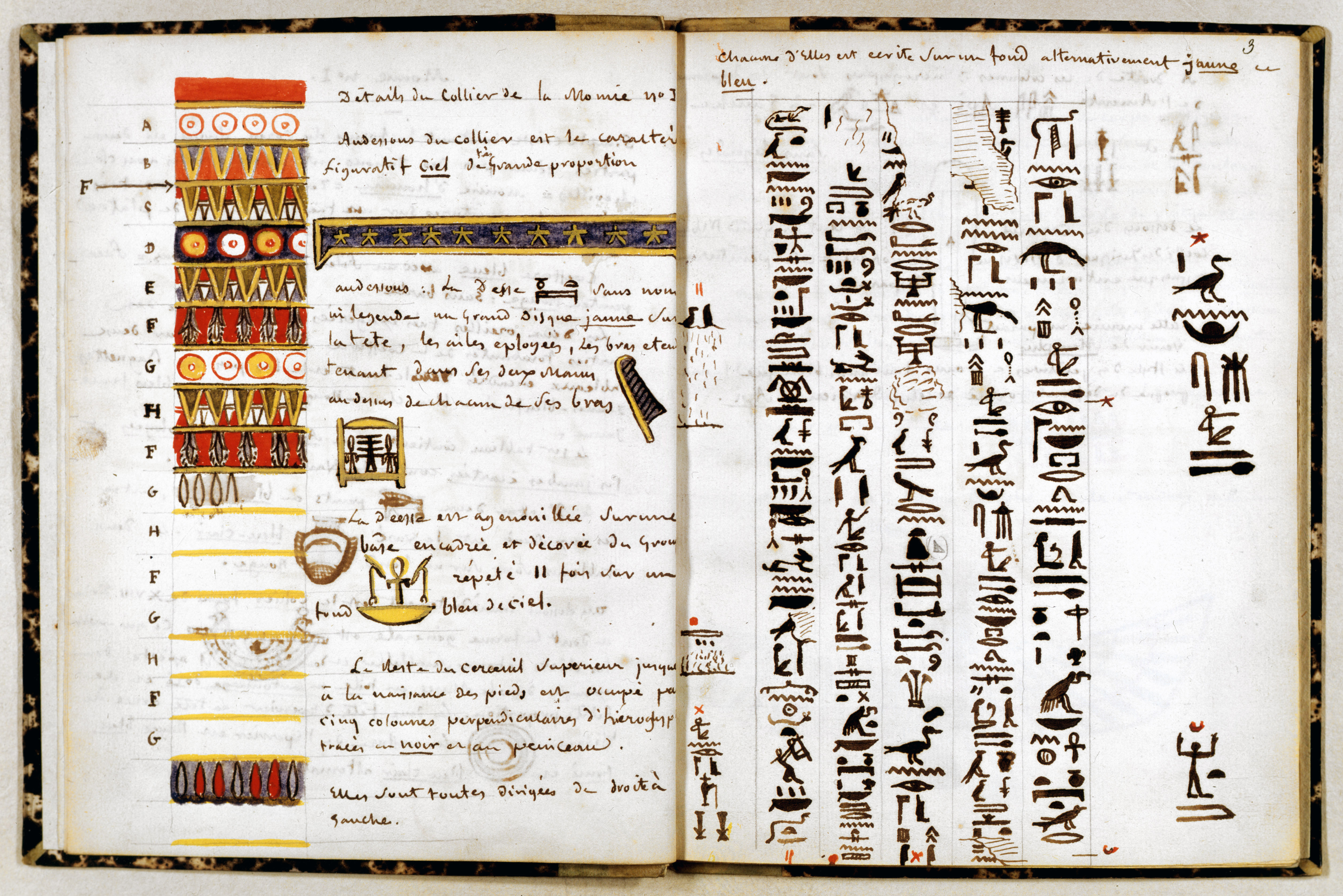 Notes on hieroglyphs in Jean-Francois Champollion notebook, c1806-1832. (Credit: Art Media/Print Collector/Getty Images)