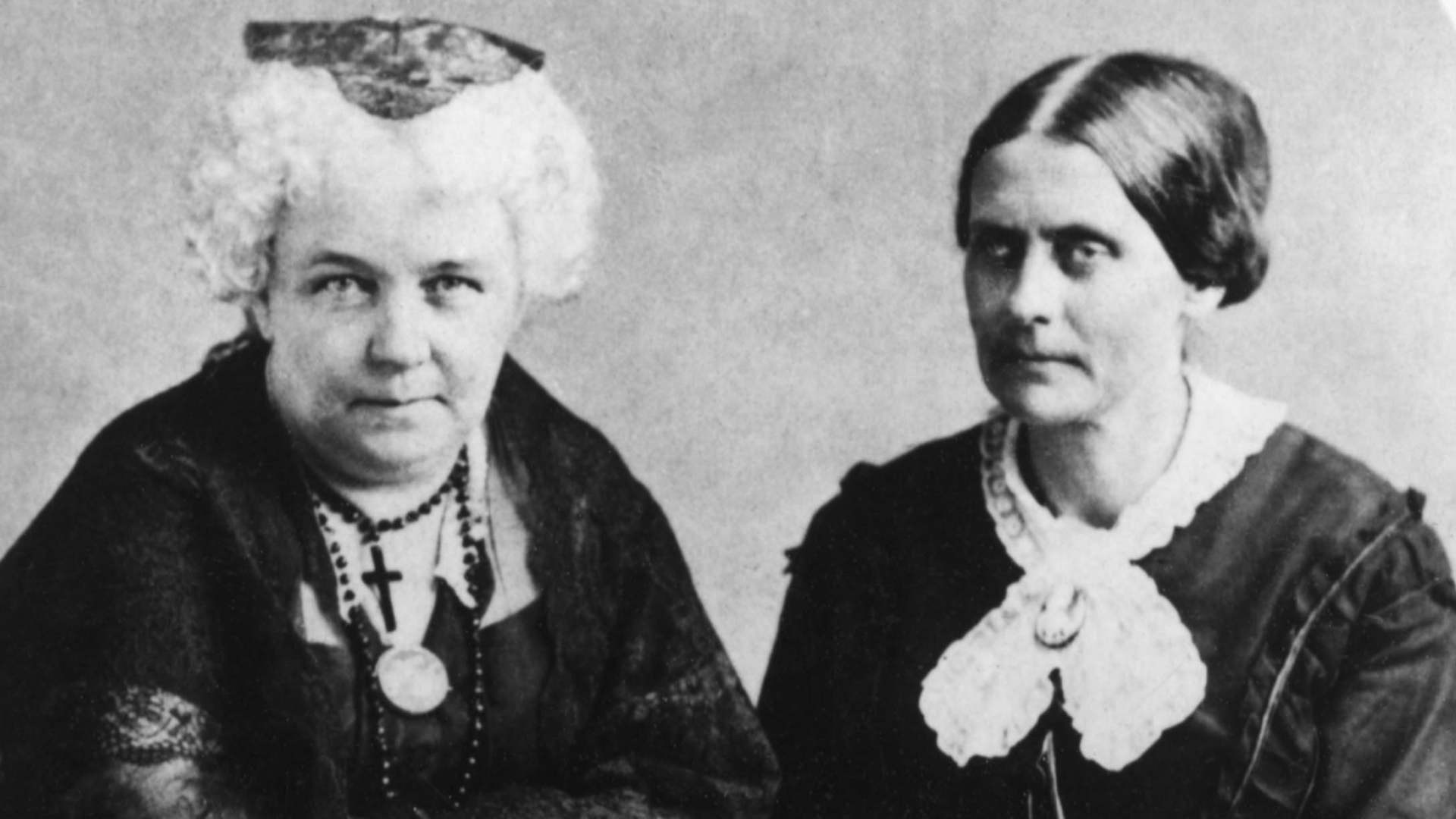 Elizabeth Cady Stanton and Susan B Anthony, founders of The National Woman Suffrage Association, 1881. (Credit: Bettmann Archive/Getty Images)