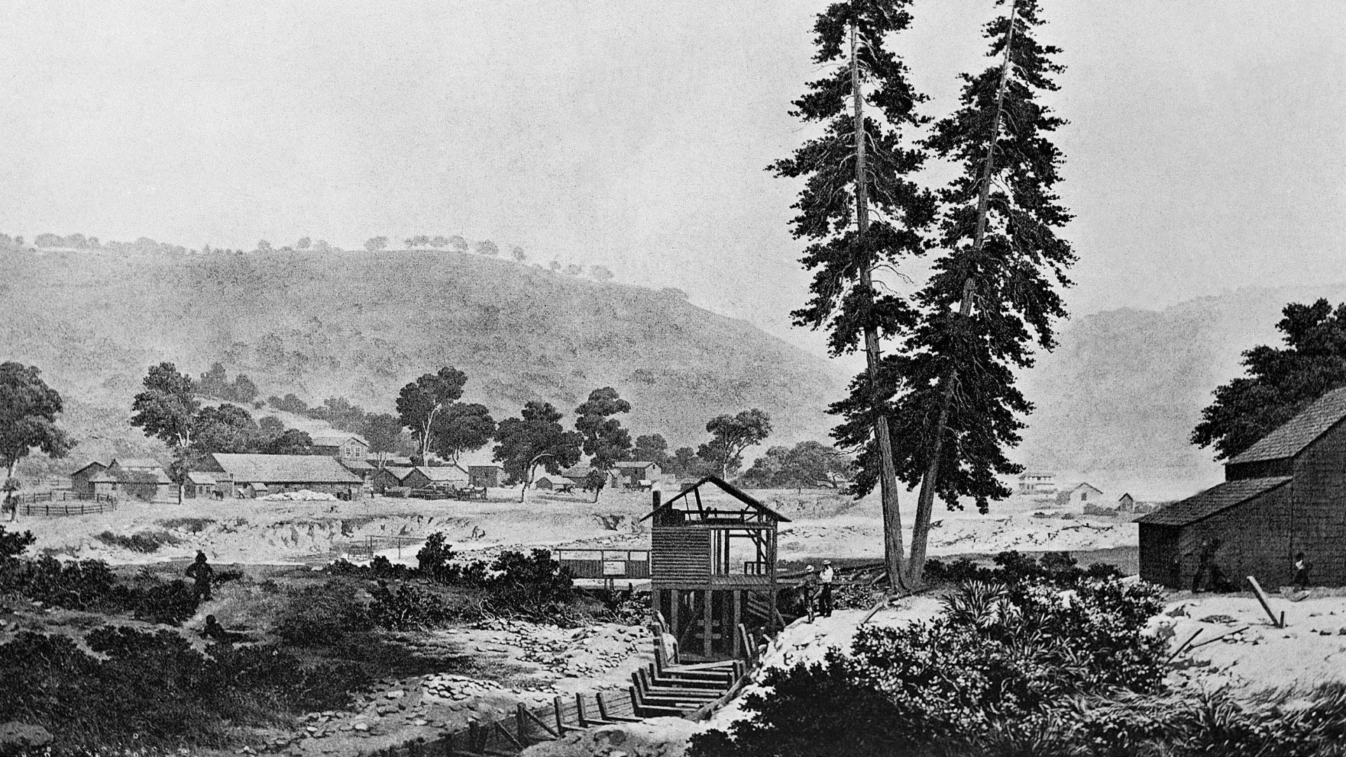 Illustration depicting Sutter's Mill, where New Jersey prospector James Marshall discovered gold in 1848, sparking the California Gold Rush. (Credit: Bettmann Archive/Getty Images)