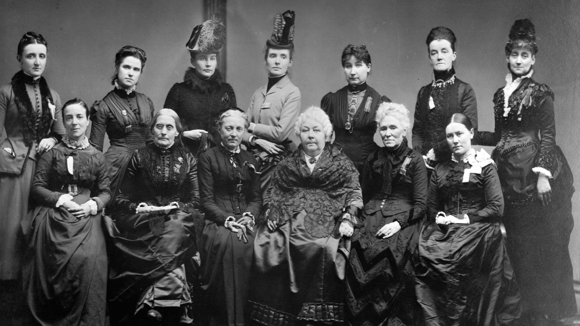 Susan B Anthony, front row and second from the left, with Elizabeth Cady Stanton, two seats over, with executive committee members from the International Council of Women. (Credit: Library of Congress/Corbis/VCG via Getty Images)