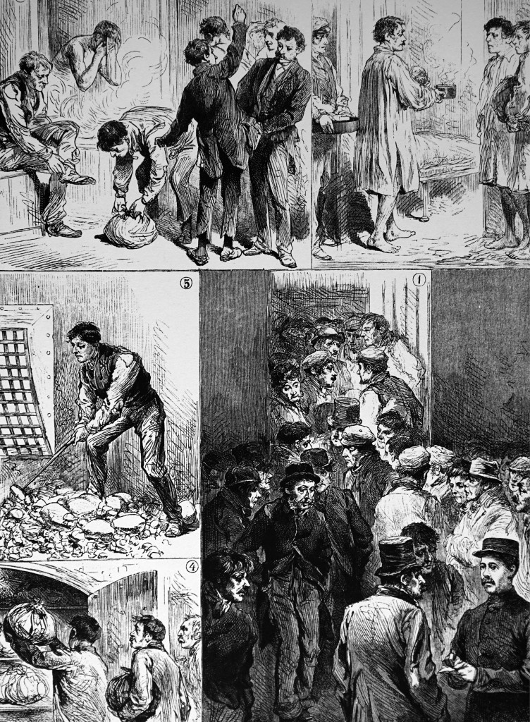 In the workhouse, men would receive a night's food and shelter and, if physically fit, would have to break a given amount of stone for road mending in the morning before leaving. (Credit: Universal History Archive/UIG via Getty Images)