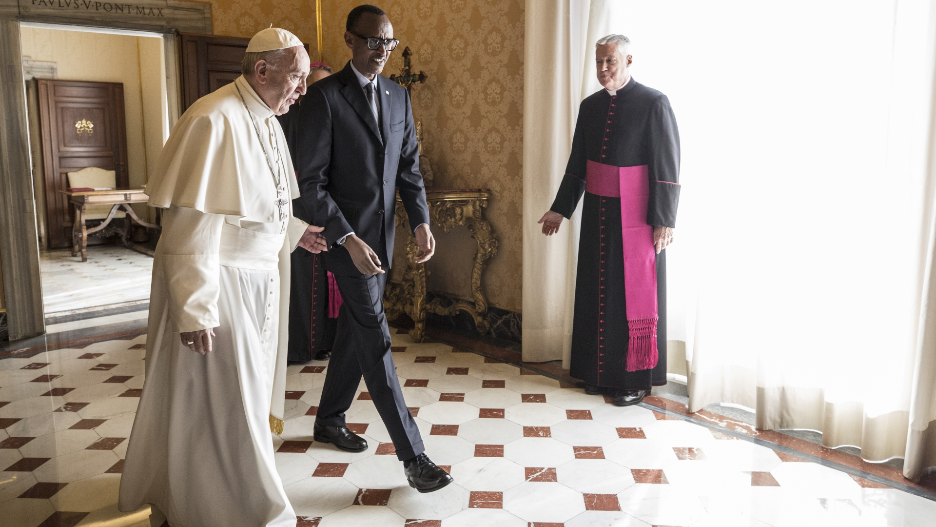 Pope Francis meeting with the President of Rwanda Paul Kagame at the Vatican on March 20, 2017. (Credit: Alessandra Benedetti/Corbis via Getty Images)