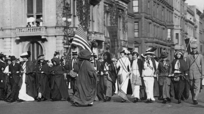 The women who walked from New York to Washington in February to attend President Woodrow Wilson's inauguration. (Credit: Paul Thompson/Topical Press Agency/Getty Images)