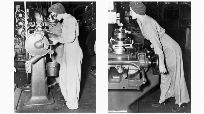 Naomi Parker, more famously known as Rosie the Riveter, working in heels at the Alameda Naval Air station during WWII. (Credit: Bettmann Archive/Getty Images)