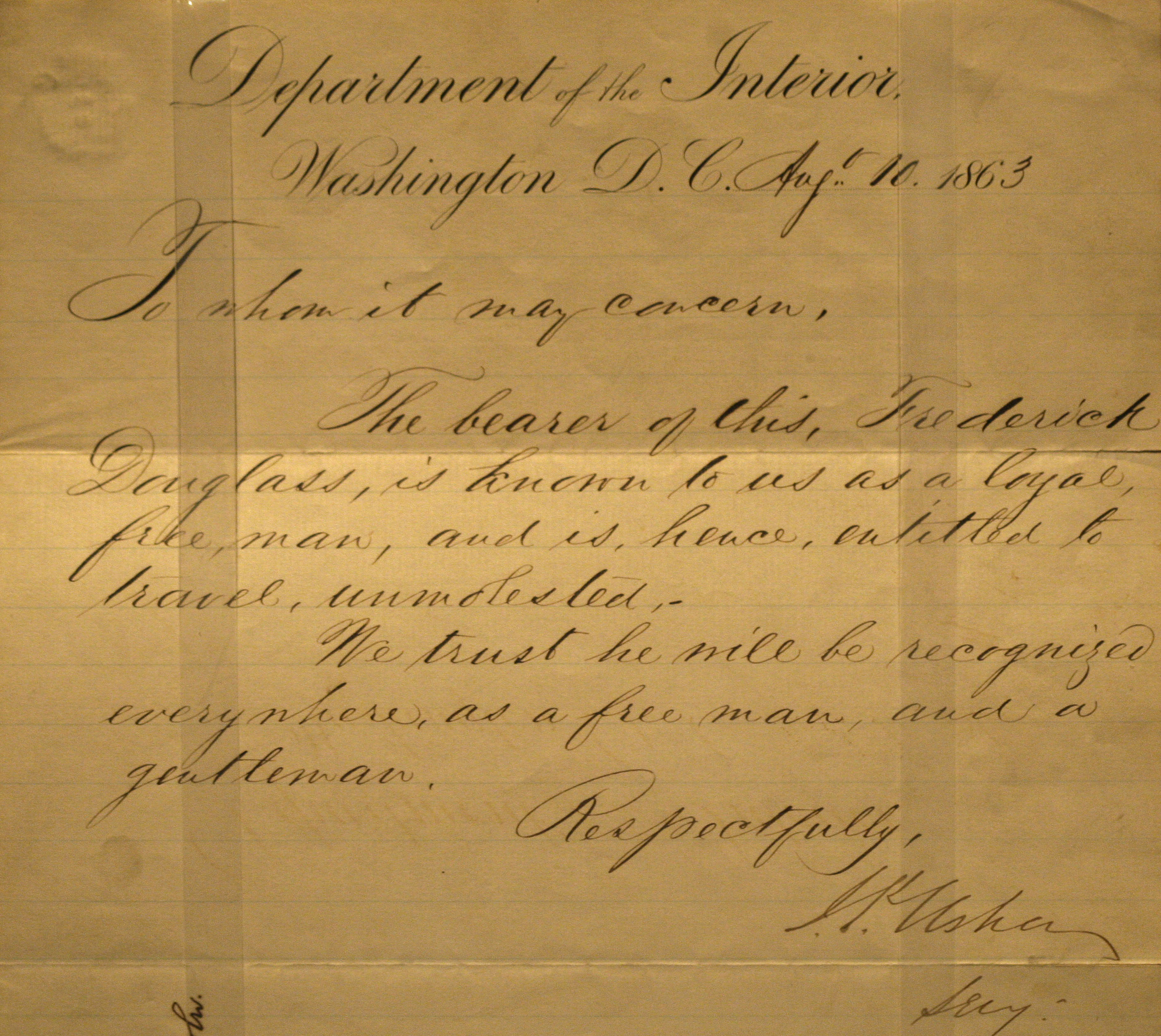 "The ""free pass"" letter from the Interior Department Frederick Douglass carried, on display at the National Constitution Center in Philadelphia. (Credit: Matt Rourke)"