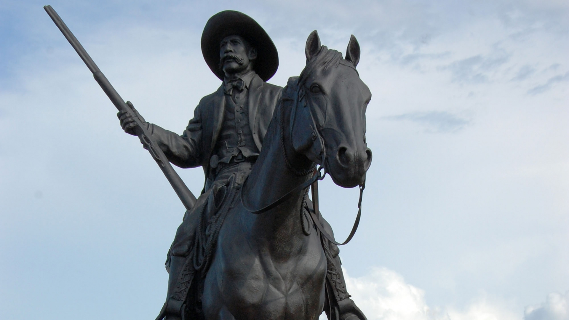 A statue of U.S. Deputy Marshal Bass Reeves in Fort Smith, Arkansas. (Credit: Jeannie Nuss/AP Photo)