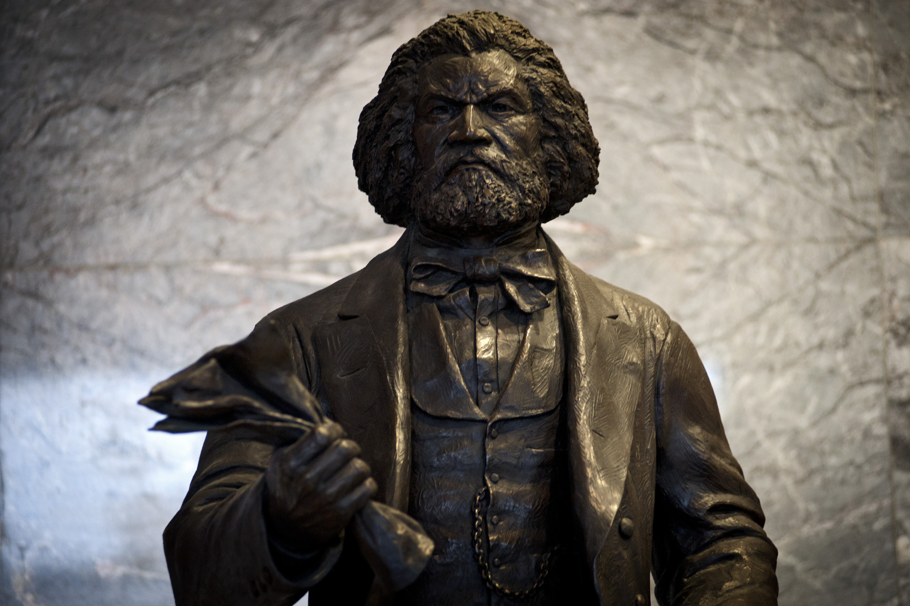 A statue of Frederick Douglass on display in the U.S. Capitol complex. (Credit: James Lawler Duggan/MCT via Getty Images)