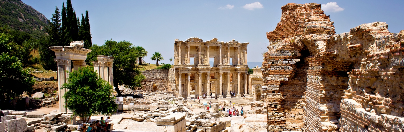 The ancient city of Ephesus, located near the Aegean Sea in modern day Turkey, was one of the great cities of the Greeks in Asia Minor and home to the Temple of Artemis, one of the Seven Wonders of the World.  (Credit: Michelle McMahon/Getty Images)