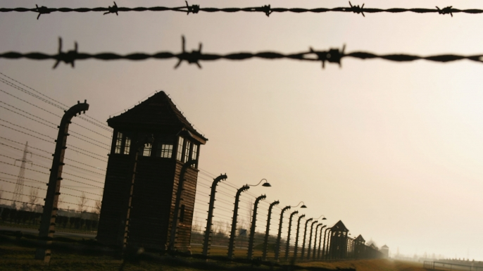 Auschwitz, in the village of Brzezinka, Poland, built in 1942 during the Holocaust. (Credit: Scott Barbour/Getty Images)