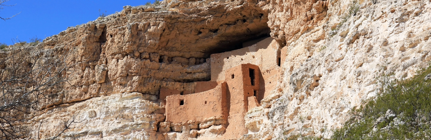 Ancient Native American Indian cliff dwellings preserved in Montezuma Castle National Monument Arizona. (Credit: Education Images/UIG via Getty Images)