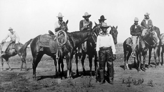 Black cowboys on horseback, circa 1880. (Credit: Universal History Archive/UIG via Getty Images)