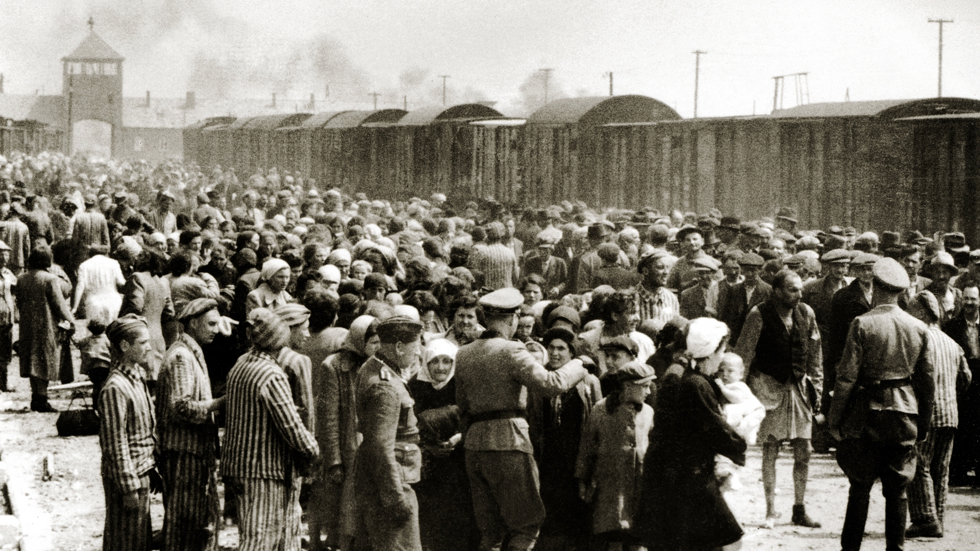 The arrival of Hungarian Jews in Auschwitz-Birkenau, in German-occupied Poland, June 1944. (Credit: Galerie Bilderwelt/Getty Images)