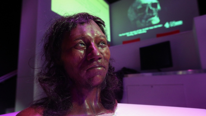 Full facial reconstruction model of a head based on the skull of Britain's oldest complete skeleton on display during a screening event of The First Brit: Secrets Of The 10,000 Year Old Man at The Natural History Museum, in London. (Credit: Jonathan Brady/PA Images via Getty Images)